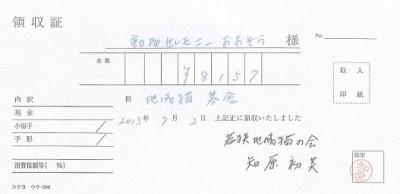若狭地域猫の会さんへの募金 2015.7.2